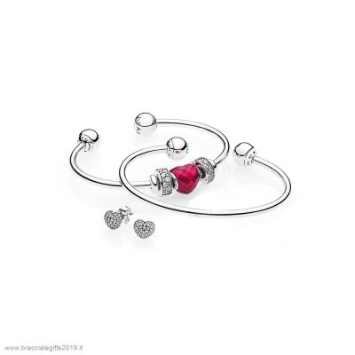 Sconti Pandora Be Mine Stacked Open Bangle Regalo