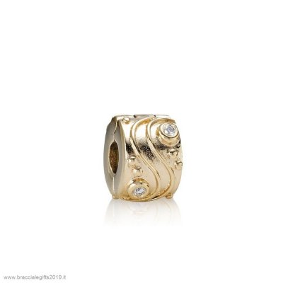 Sconti Pandora Clips Charms Babbling Ruscello Abstract Gold Clip Diamonds